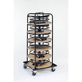 Compleet assortiment 6 bar tafels/bistrotafels, ø 700 mm, beige gemarmerd + rolcontainer