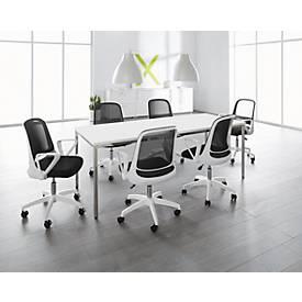 Complete aanbieding: 1 vergadertafel 2000 x 800 mm, wit + 6 bezoekersstoelen met wieltjes en armleuningen, wit