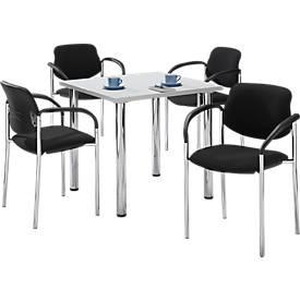 Complete aanbieding tafel 800 x 800 mm lichtgrijs + 4 stoelen