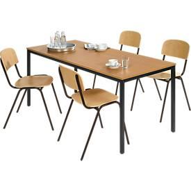 Complete set stalen buizensettafel met 4 stapelbare stoelen