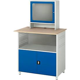 Computerstation type 6018, B 1100 x D 800 x H 1810 mm, stilstaand, met een vaste plaats.