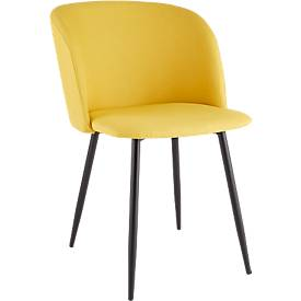 Conferentiestoel, set van 2, B 570 x D 540 x H 810 mm, gestoffeerd, zwart frame, safraan stoffen bekleding