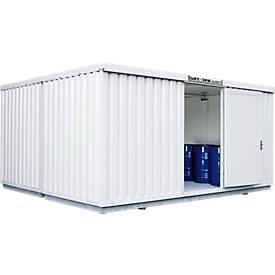 Container voor gevaarlijke stoffen SAFE Tank 2000, geïsoleerd, RAL 9002 grijs wit, B 3050 x D 4340 x H 2520 mm.