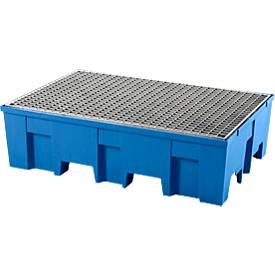 Cubeta colectora, para 2 barriles de 200l c.u., accesible con transpaleta, An 865 x P 1245 x Al 350mm, con rejilla galvanizada, polietileno, azul