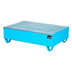Cubeta colectora, para 2 barriles de 200l c.u., con rejilla galvanizada, L 1200 x An 800 x Al 360mm, accesible con transpaleta, acero, azul luminoso RAL 5012