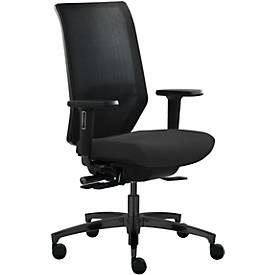 Dauphin Bürostuhl SHAPE MESH, mit Armlehnen, Lendenwirbelstütze, Sitzzeit 8+ Stunden, Rollen für Teppich, schwarz