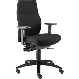 Dauphin bureaustoel SHAPE XTL, synchroonmechanisme, met armleuningen, zittijd 8+ uur, met universele zwenkwielen, zwart