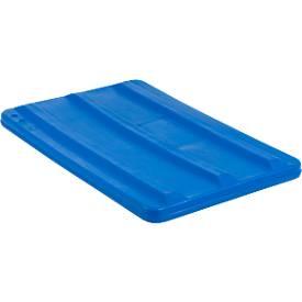 Deksel voor rechthoekige bak, kunststof, 135 liter, blauw