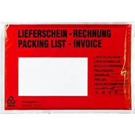Dokumententaschen, DIN C6, 175 x 110, 1000 Stück, Lieferschein-Rechnung