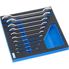 Doppel-Maulschlüsselsatz in Hartschaumeinlage, 10-tlg., für Schrankserie WSK, Maße 306 x 306 mm