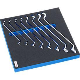 Doppelringschlüsselsatz mit Hartschaumeinlage, 8-tlg. , für Schrankserie DP, Maße 195 x 558 mm