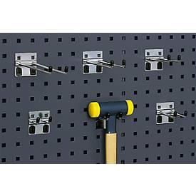 Double crochet pour système de plaques perforées