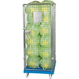 Drahtgitterbehälter 4-seitig, 1600 auf Kunststoffrollbehälter, lichtblau RAL5012