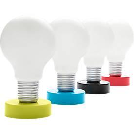 Drucklampe, Glühbirnenform, weiße LED, inklusive 3 Stück 1,5 V-Mikrobatterien