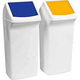 Recycleerbare afvalverzamelaar Flip, 40 liter, met deksel, blauw, met deksel