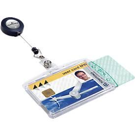 DURABLE Kit sécurité double porte-cartes avec enrouleur