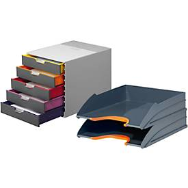 DURABLE Schubladenbox VARICOLOR 5 Fächer + GRATIS Ablagekorb VARICOLOR, orange