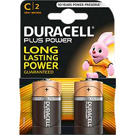 DURACELL® batterijen Plus Power, Baby C, 1,5 V, pak van 2 stuks