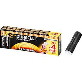 DURACELL Plus Power Sparpack 20+4 AA Batterien + LED-Taschenlampe, GRATIS