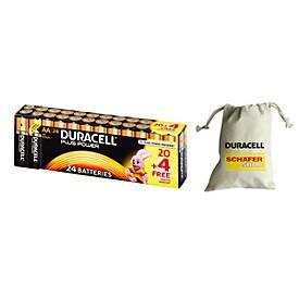 DURACELL® Plus Power Batterien, Sparpack 20+4 Stück + Batterien-Sammelbeutel, GRATIS