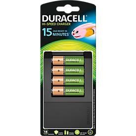 DURACELL®15 Min.-Ladegerät CEF15 mit 4 AA 1.300 mAh für Mignon + Micro Batterien