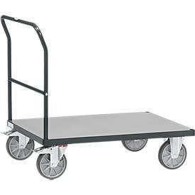 Duwbeugelwagen, staal/hout, antracietgrijs, tot 600 kg, B 1200 x D 800 mm, TPE-banden, TPE banden