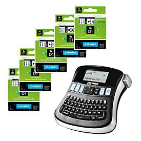 DYMO® Schriftbandkassetten 45013, 5 Stück + Beschriftungsgerät LabelManager 210, GRATIS
