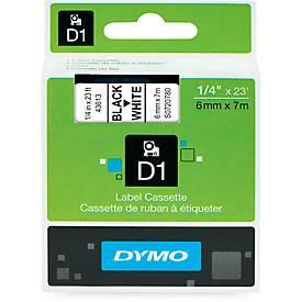 DYMO® Schriftbandkassetten 43613, 6 mm breit, weiß/schwarz