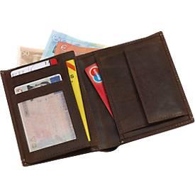 Echtleder-Brieftasche Wild Style, braun, 6 Steckfächer, 120 x 100 x 22 mm