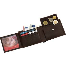 Echtleder-Geldbörse Wild Style, braun, 6 Steckfächer für Geld- und Visitenkarten