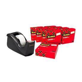 Economy set tafeldispenser Scotch® + 10 rollen Scotch® Crystal kleefband, voor rollen tot B 19 mm, zwart