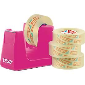 Economy set tafeldispenser tesa Easy Cut® COMPACT + 4 rollen tesafilm®, dispenser in roze