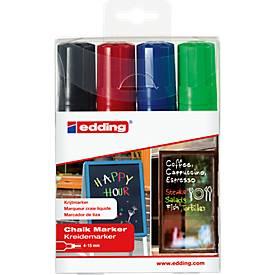 edding Krijtmarker 4090, beitelpunt, zwart, rood, blauw, groen, set van 4