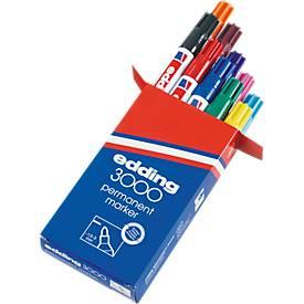 edding marqueur permanent 3000, 10 couleurs assorties