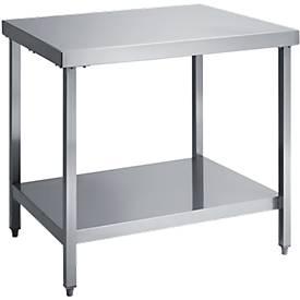 Edelstahl-Arbeitstisch, mit Boden, B 700 mm x H 850 mm