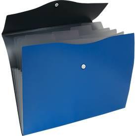EICHNER Fächermappe, 5 Fächer, DIN A4-Format, Druckknopfverschluss, blau