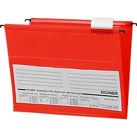 EICHNER Hängemappen,für Formate bis DIN A4, Öffnung seitlich, PVC, rot, 10 Stück