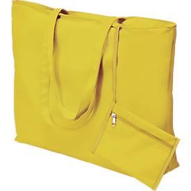 Einkaufstasche, 62 cm lange Henkel, mit Reißverschluss, mit Bodenfalte