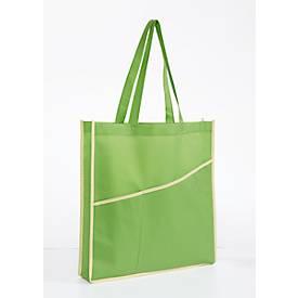 Einkaufstasche EASY, 2 Vordertaschen, Bodenfalte, Werbedruck 1-farbig 140 x 140 mm, grün