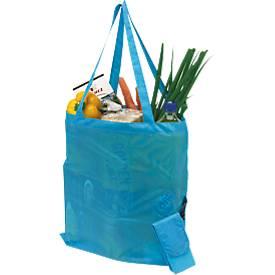 Einkaufstasche SHOPPY, faltbar, mit Klettverschlusstasche, Werbedruck 200 x 200 mm, türkis