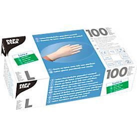 Papstar Einmalhandschuhe, Latex, gepudert, weiß, 100 Stück, Größe L