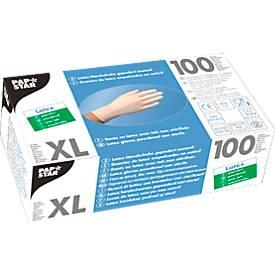 Papstar Einmalhandschuhe, Latex, gepudert, weiß, 100 Stück, Größe XL