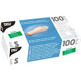 Einmalhandschuhe, Latex, gepudert, weiß, 100 Stück, Größe S