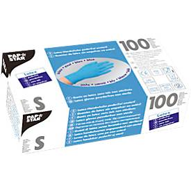 Einmalhandschuhe, Latex, puderfrei, blau, 100 Stück, Größe S