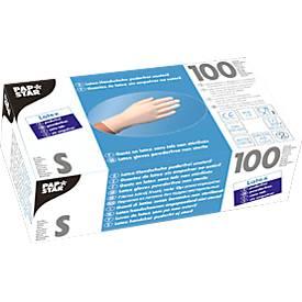 Einmalhandschuhe, Latex, puderfrei, weiß, 100 Stück, Größe S