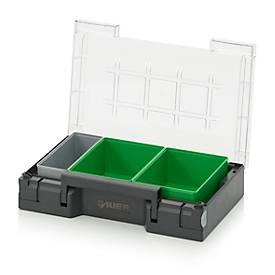 Einsatzkasten-Set für Sortimentskasten 300 x 200 mm, ABS-Kunststoff, Rastergrößen 1 x 3 und 2 x 3, grau/grün, 3-teilig