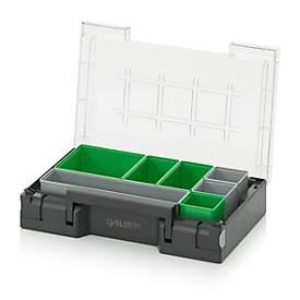 Einsatzkasten-Set für Sortimentskasten 300 x 200 mm, ABS-Kunststoff, Rastergrößen 2 x 2, 1 x 2, 1 x 4 und 1 x 1, grau/grün, 7-teilig