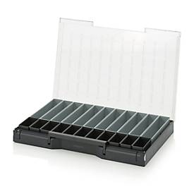 Einsatzkasten-Set für Sortimentskasten 600 x 400 mm, ABS-Kunststoff, Rastergrößen 1 x 2 und 1 x 5, anthrazit/grau, 22-teilig