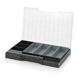 Einsatzkasten-Set für Sortimentskasten 600 x 400 mm, ABS-Kunststoff, verschied. Rastergrößen, anthrazit/grau, 10-teilig