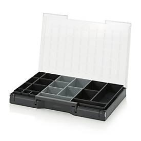 Einsatzkasten-Set für Sortimentskasten 600 x 400 mm, ABS-Kunststoff, verschied. Rastergrößen, anthrazit/grau, 19-teilig